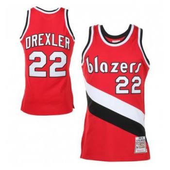 SWINGMAN NBA CLYDE DREXLER BLAZERS ROUGE MITCHELL&NESS
