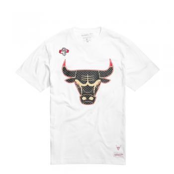 Gold Logo Tee Bulls Blanc Mitchell&Ness